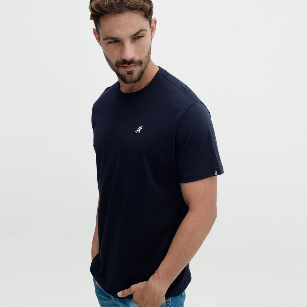 Men's Navy C Neck Pima Cotton Jersey T-shirt