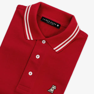 Men's Neck Detail Polo Shirt in Red
