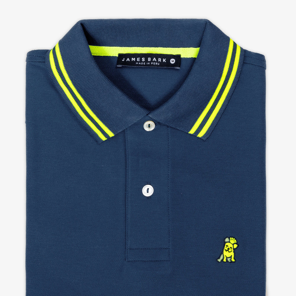 Men's Neon Edition Neck Detail Polo Shirt in Navy