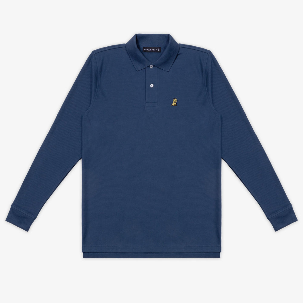 Men's Gold Edition Long Sleeve Polo Shirt in Navy