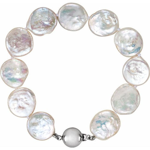 White Freshwater Cultured Coin Pearl  Bracelet