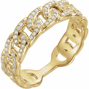 Diamond Chain Link Ring 14K Yellow 1/4 CTW