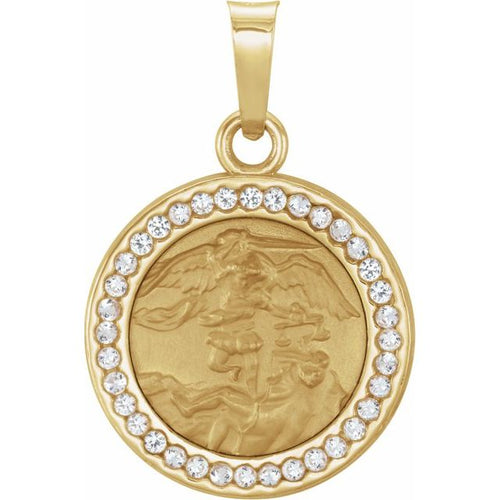 St. Michael  Pendant 14K with Lab-Grown White Sapphires