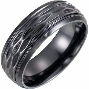 Patterned Black Titanium Band