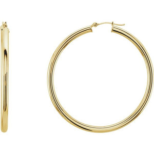 14K Gold Round Hoop Tube Earrings