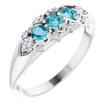 Load image into Gallery viewer, Iman London Blue Topaz & Diamond Three-Stone Ring (Sterling Silver)