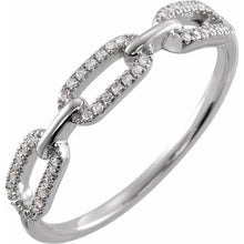 Load image into Gallery viewer, Diamond Chain Link Ring  Sterling Silver 1/6 CTW