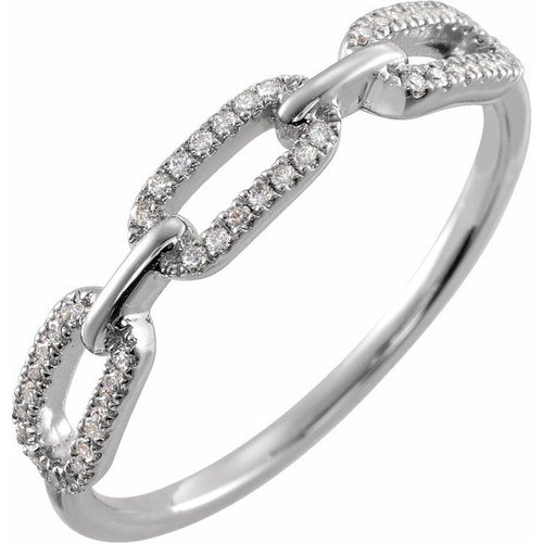 Diamond Chain Link Ring  Sterling Silver 1/6 CTW