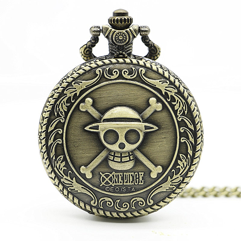 Bronze Steampunk Skull One Piece Pocket Watch