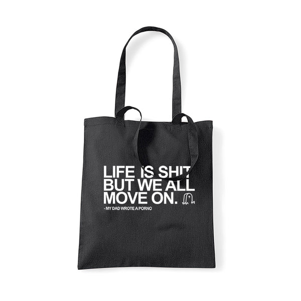LIFE IS SHIT BLACK TOTE BAG