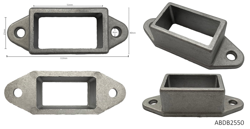 Aluminium double sided brackets for rectangle sections