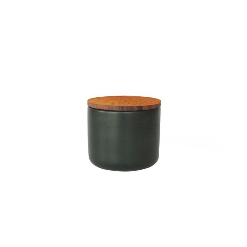 Load image into Gallery viewer, Medium Stoneware Container with Acacia Lid (Black)