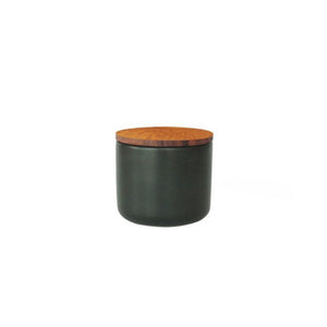 Medium Stoneware Container with Acacia Lid (Black)
