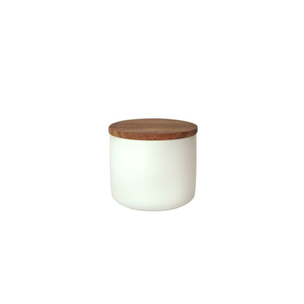 Load image into Gallery viewer, Medium Stoneware Container with Acacia Lid (White)
