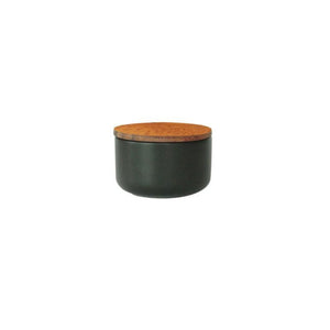 Small Stoneware Container with Acacia Lid (Black)