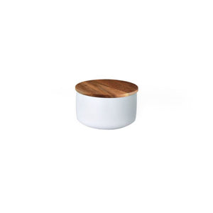 Small Stoneware Container with Acacia Lid (White)