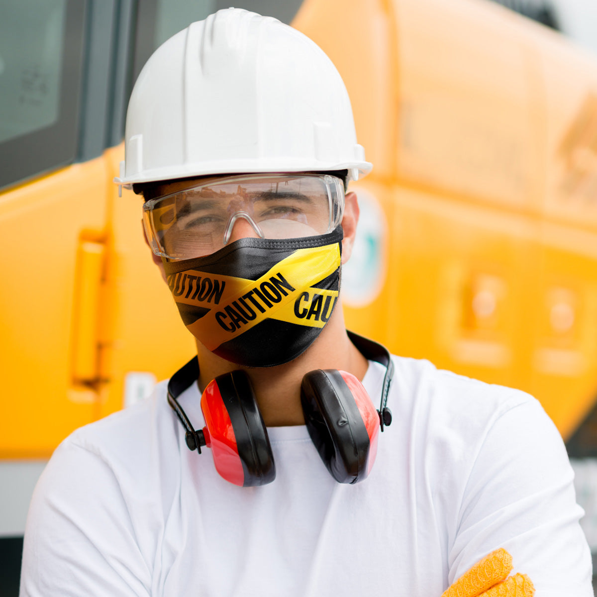 CAUTION TAPE FACE MASK