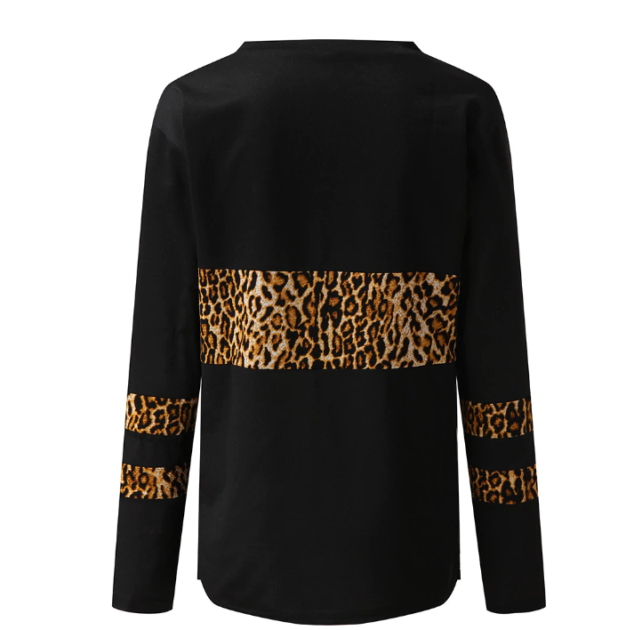 Knitted V Neck Sweater Leopard Print Long Sleeve
