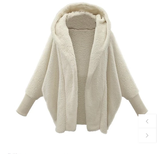 Casual Loose Solid Full Sleeve Hooded Plush Coat