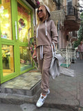 Hooded Tops Sweatshirt+Solid Long Pants Tracksuit