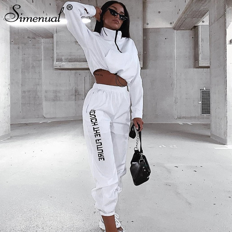 Zipper Long Sleeve Sporty Active Wear Top And Pants Set