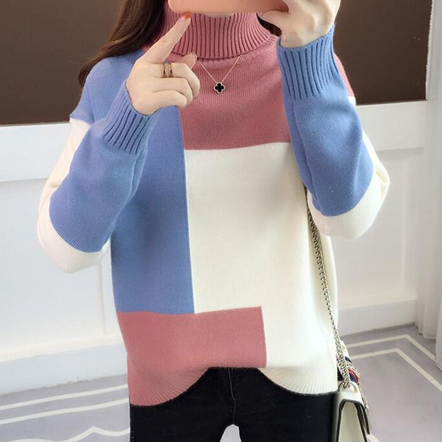 Red Patchwork Turtleneck Knitted Winter Jumper