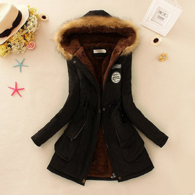 Zipper Hooded Cotton  Coats And Jackets
