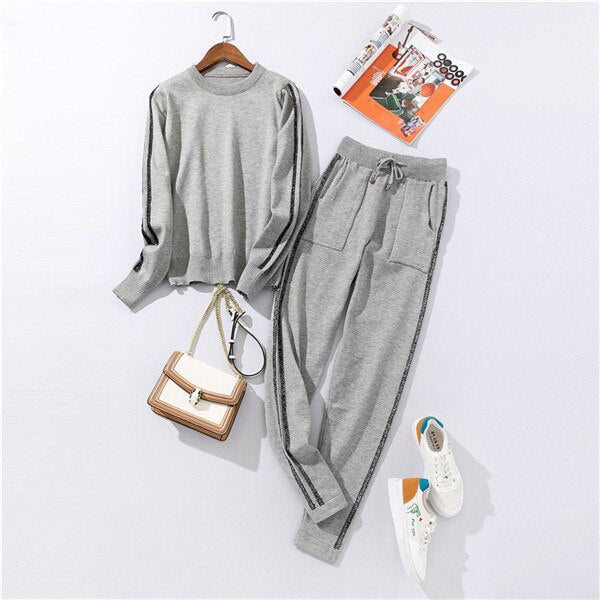 Long Sleeve Knitted Pullover + pants Suit