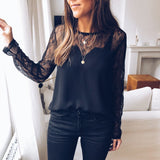 See Through Lace Long Sleeve Blouse