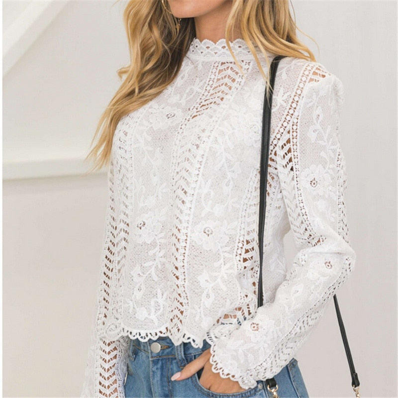 Long sleeve White Lace Hollow Turtleneck Blouse
