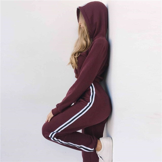 Hoodies Crop Top Sweatshirt+Side Stripe Pants Hooded Suits