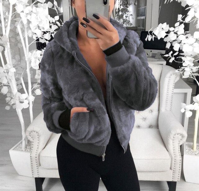 Faux Fur Coat Warm Fleece Jacket