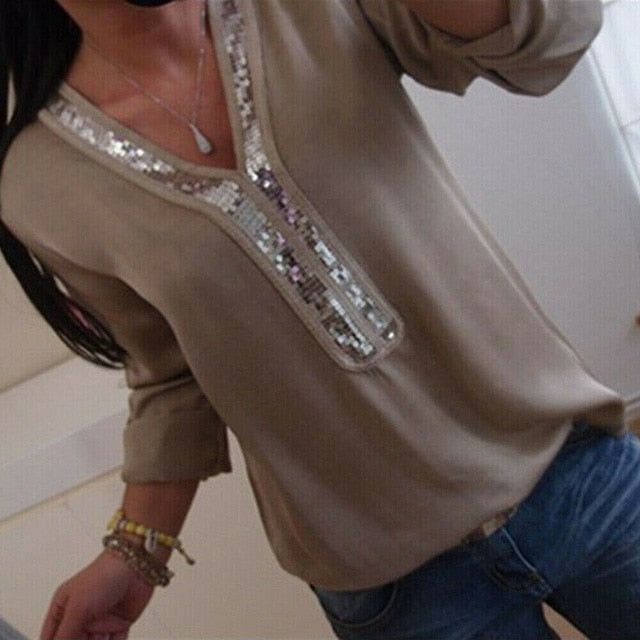 Sequin  V-Neck Long Sleeve Blouse