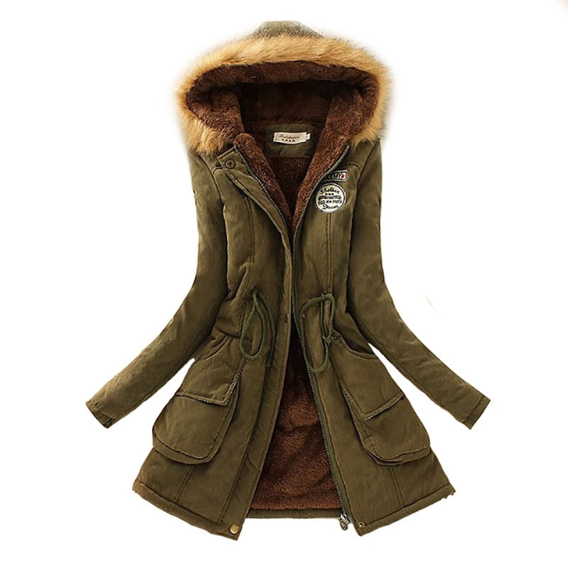 Warm Hooded Women Parka Jacket
