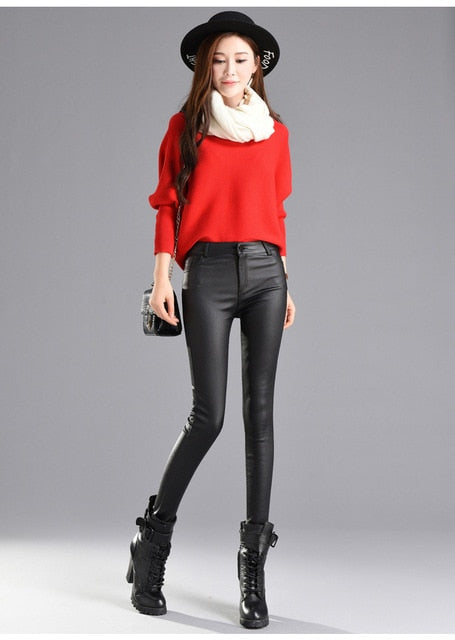PU Leather Velvet Trousers Elastic Pencil Skinny Pants