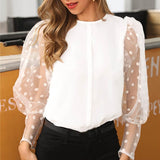 Mesh Sheer Blouse See-through Puff Long Sleeve Blouse