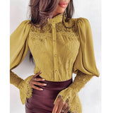 Lace Patchwork Flare Sleeve Buttoned Blouse