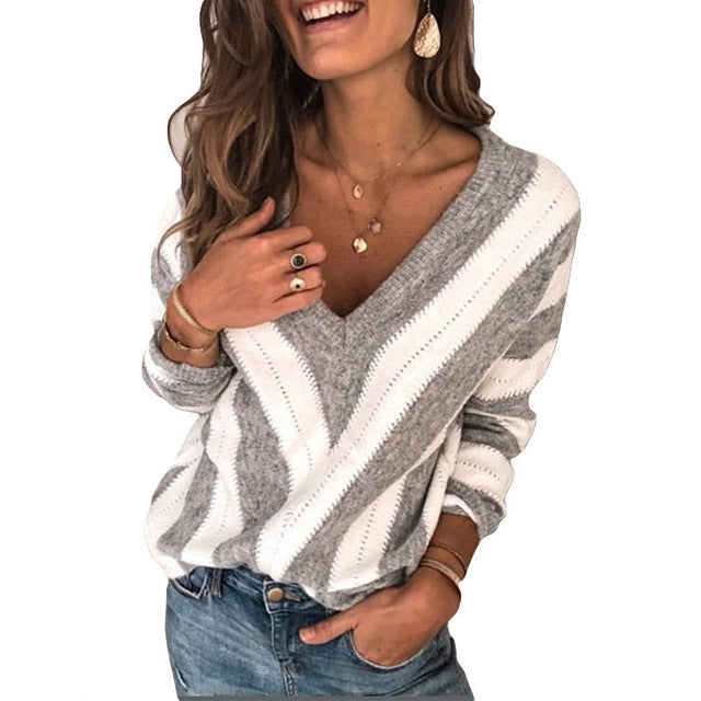 Women's Sweaters V Neck Striped Pullover