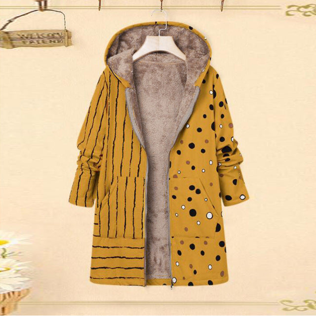 Casual Winter Warm Printed Plus Size Hooded Coat