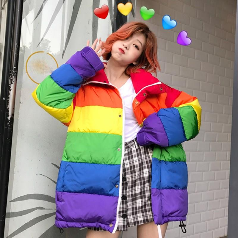New 2019 Women Winter Jackets Rainbow Striped Cotton Padded Coats Warm Pockets Harajuku Thick Parkas