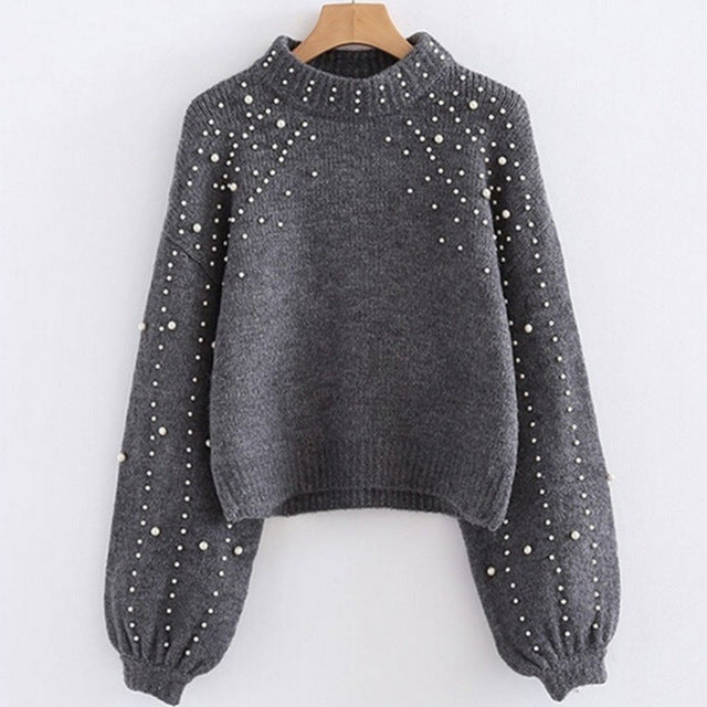 Thick Needle O-neck Long Sleeve Pullover Sweater