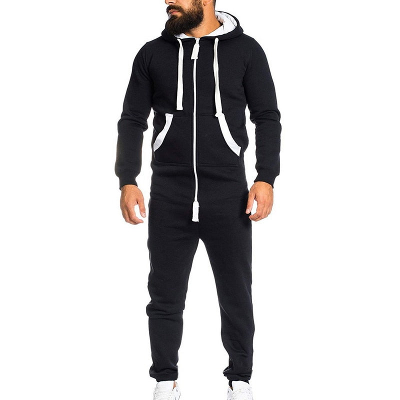 Solid Hooded Jumpsuit