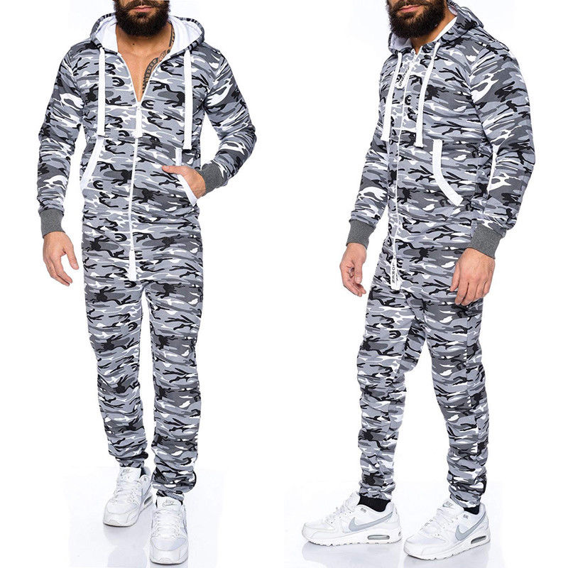 Camouflage Hooded Zip Up Jumpsuits Male Fashion One Piece Sets Jumpsuit
