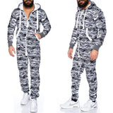 Camouflage Hooded Zip up Jumpsuits