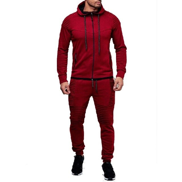Solid 3D Print Pleated Hoodies Sweatshirt Pants Set Jumpsuit