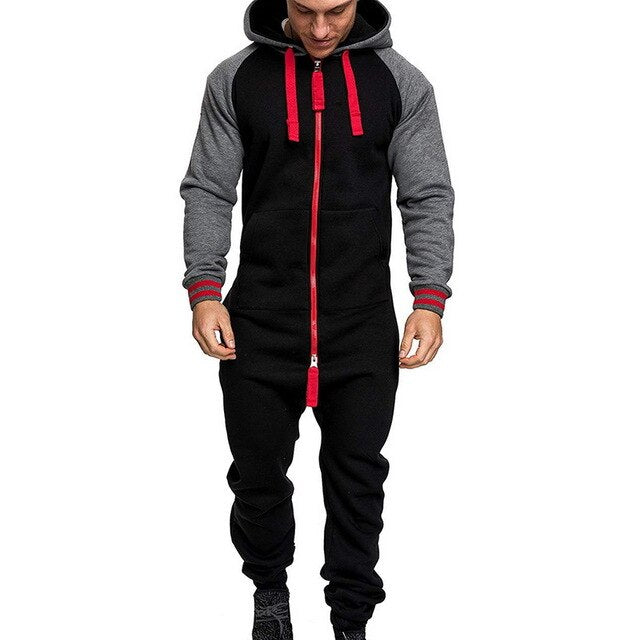 Men Pure Color Splicing Jumpsuit