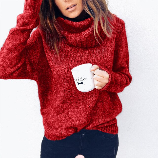 LooseTurtleneck Knitted Sweater Pullovers