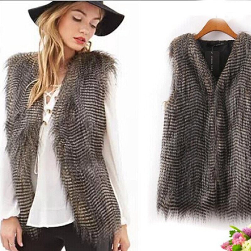 Faux Fur Vest Long Peacock Fur Sleeveless Coat