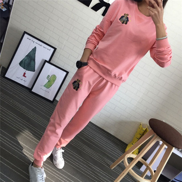 Winter Tracksuit Long Sleeve Embroidery Cotton
