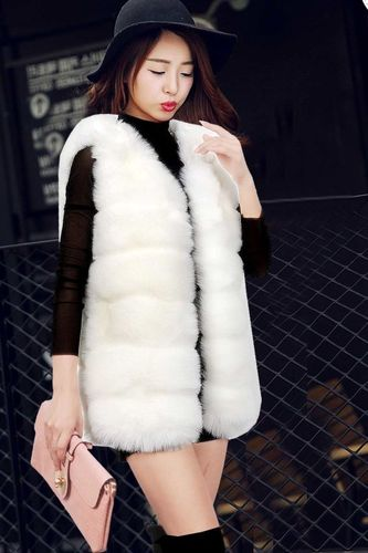 Thick Warm Fur Elegant Sleeveless Long Vest